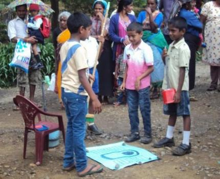 """""""Ensure the correct usage of toilet for your Healthy Life"""" Children in Sri Lanka marking World Toilet Day"""